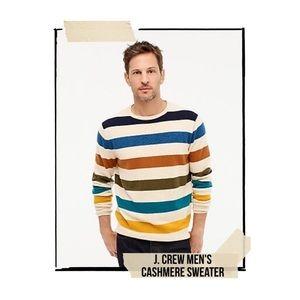 JCrew Men's Cashmere Sweater in Multi Stripe